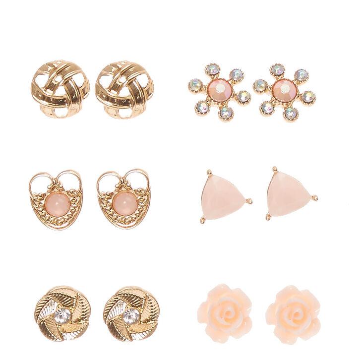 Gold-tone Blush Pink Rose Motif Stud Earrings,