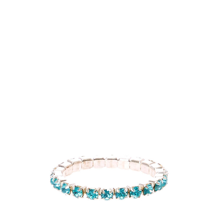 Blue Faux Crystal Stretch Toe Ring,