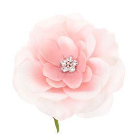 Pink Lily with Clear Plastic Gem Center Flower Hair Clip,