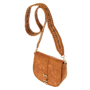 Cognac Guitar Strap Crossbody Bag,