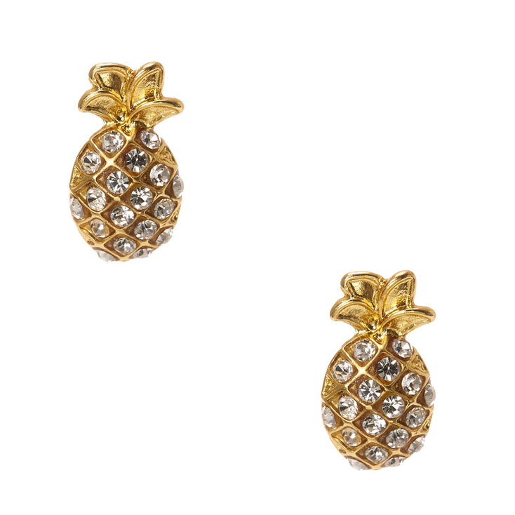 Gold rhinestone studded pineapple stud earrings claire s us