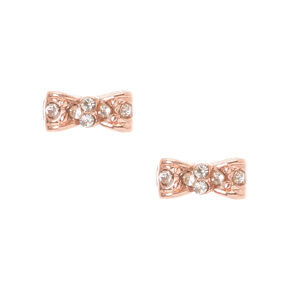 Gold Plated Rose Gold Crystal Bow Earrings,