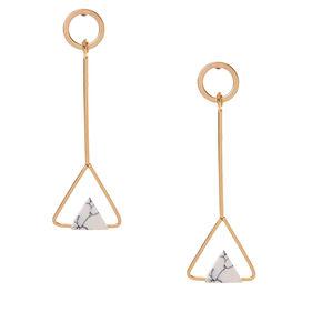 Gold-tone Geometric White Marbled Drop Earrings,