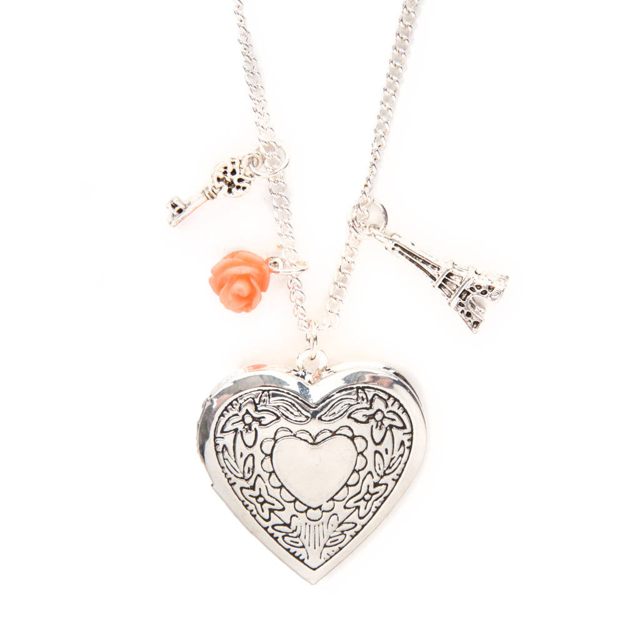 Silver Heart Locket and Charms Pendant Necklace