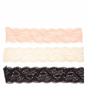 Blush, Black, and Ivory Lace Headwraps,
