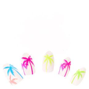 Neon Palm Tree White Stiletto Instant Nails,