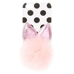 Polka Dot Pink Pom Pom Bunny Phone Case,