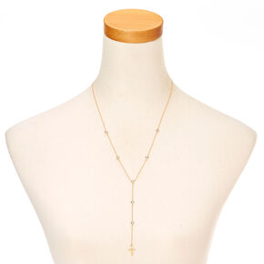 Gold Crystal Rosary Cross Necklace,