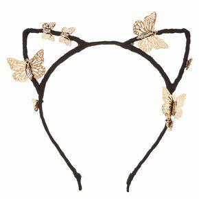 Black Cat Ears with Gold Butterflies Headband,