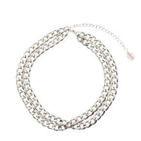 Silver Double Chain Choker,