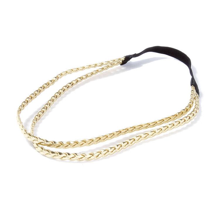 Metallic Faux Leather Double Braid Headwrap,