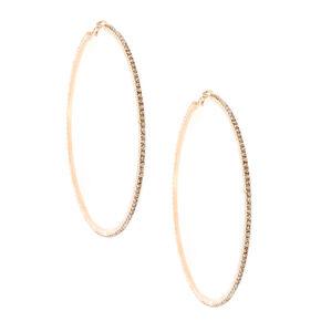 100MM Faux Crystal Lined Rose Gold-tone Hoop Earrings,