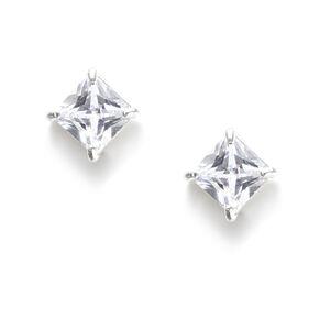 7MM Square Cut Cubic Zirconia Infinity Set Stud Earrings,