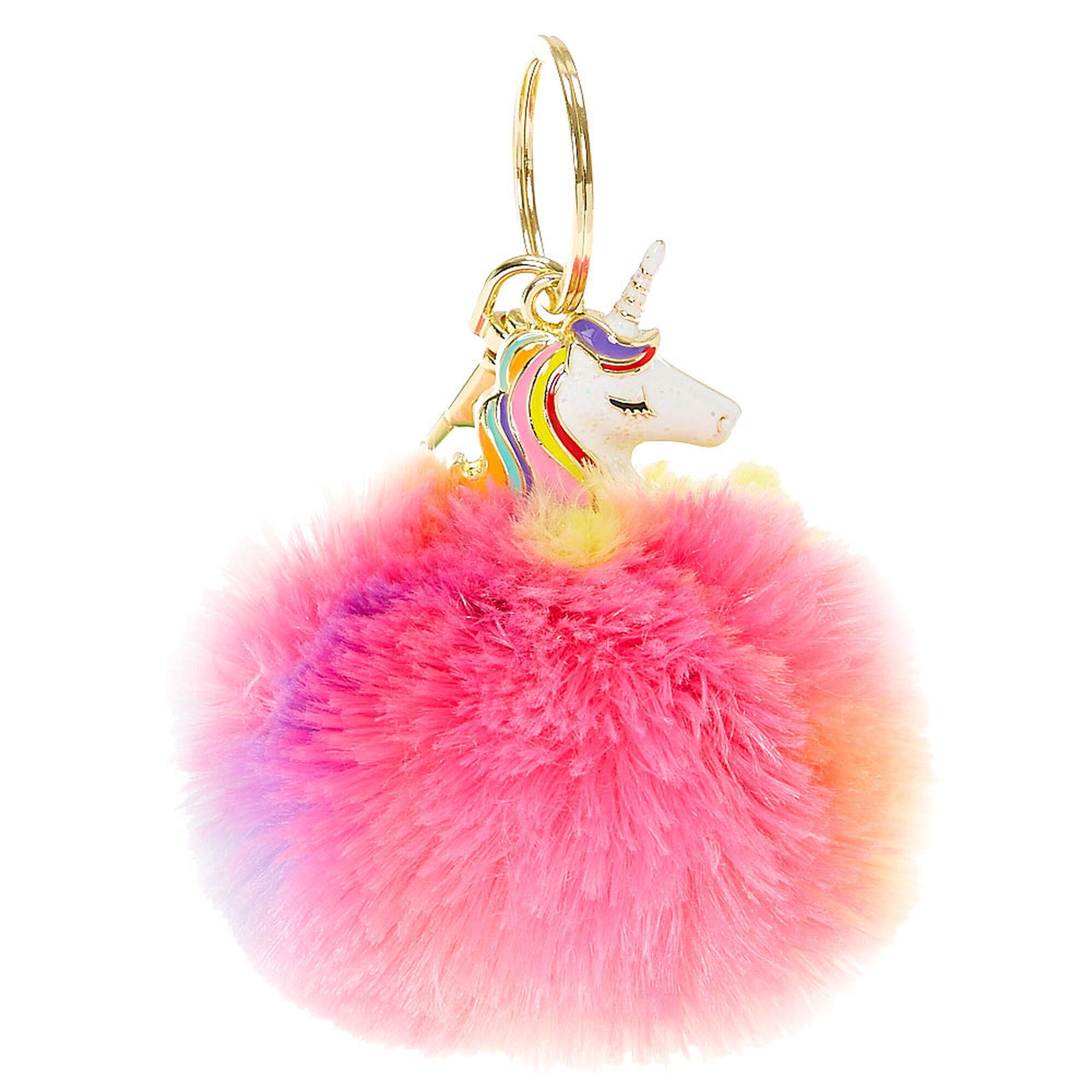 Rainbow Unicorn Pom Key Chain Claire S Us