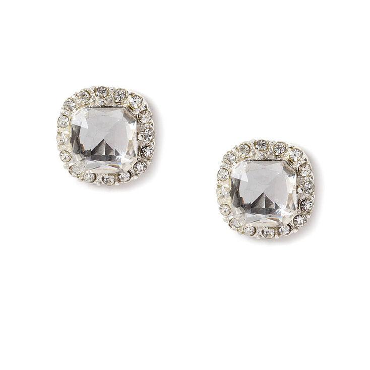 Rhinestone Framed Cushion Cut Crystal Stud Earrings,