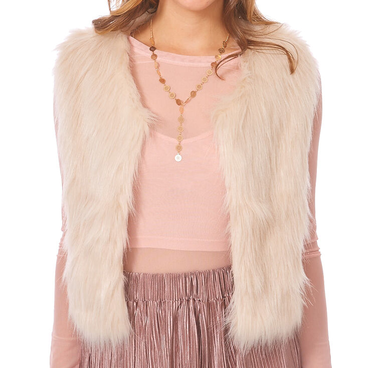 Ivory Faux Fur Cropped Vest,