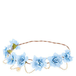 Blue Flowers and Golden Chain Hair Flower Crown,