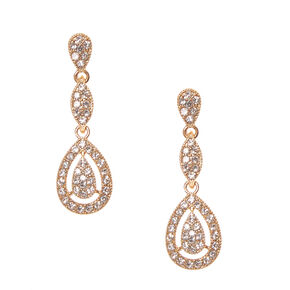 Gold Pavé Rhinestone Framed Teardrop Drop Earrings,
