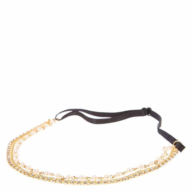 Gold Chain with Faux Pearls and Crystals Multi-chain Headwrap,