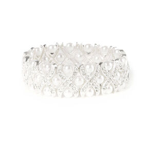 Crystal Criss Cross and Pearls Stretch Bracelet,