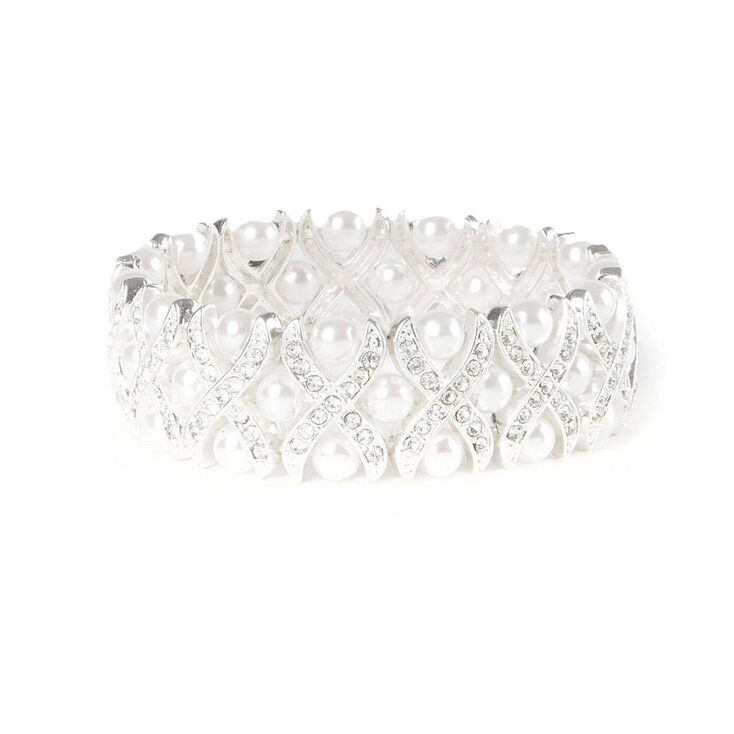 Crystal Criss Cross and Pearls Stretch Bracelet at Icing in Victor, NY | Tuggl