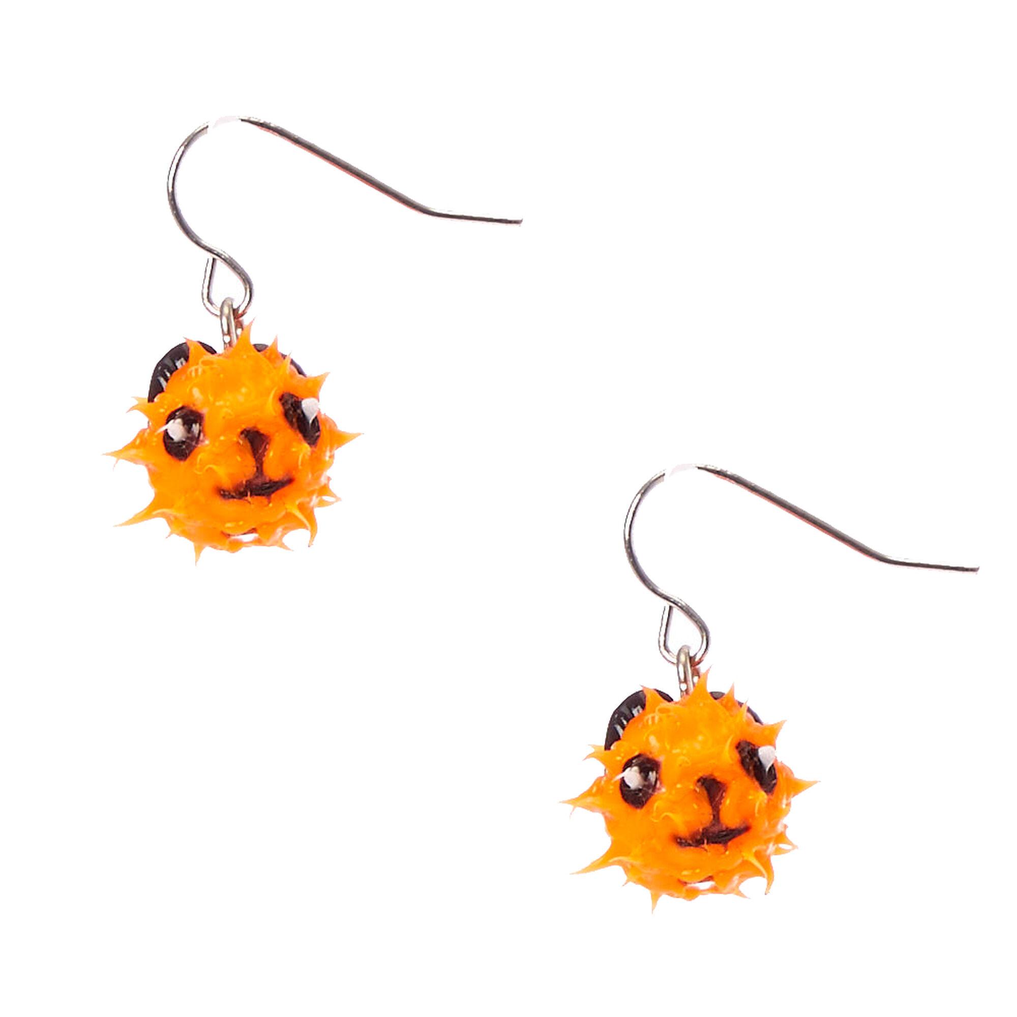 ball drop earrings. orange panda rave ball drop earrings