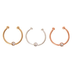Faux Crystal Mixed Metal Nose Rings,