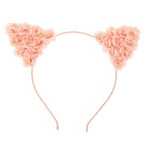 Blush Pink Flower Cat Ears Headband,
