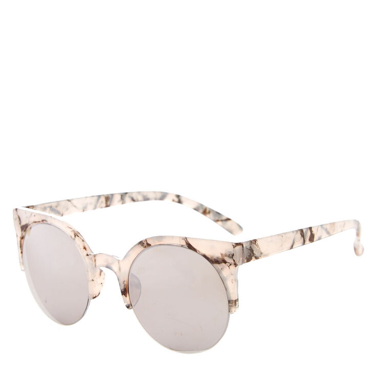 Round Gray Marbled Sunglasses,