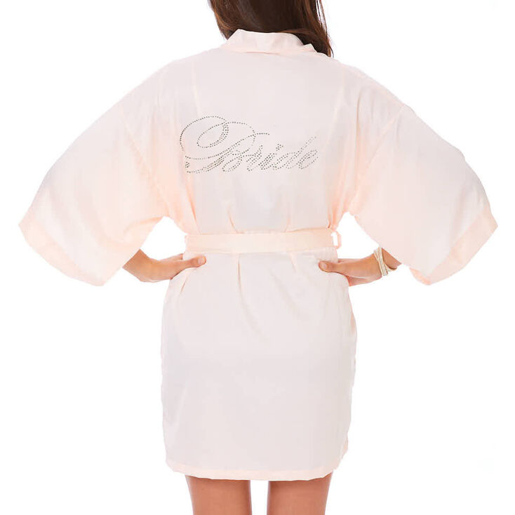 Light Pink Satin and Crystal Bride Robe,