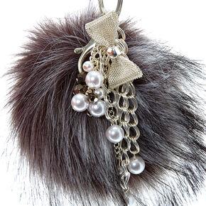 Pearl Gray Pom Pom Keychain,