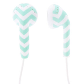 Mint Chevron Earbuds,