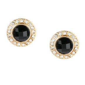 Rhinestone Framed Black Crystal Button Stud Earrings,