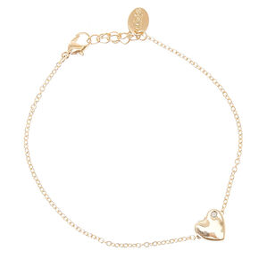 Gold Tone Heart Pendant Anklet,