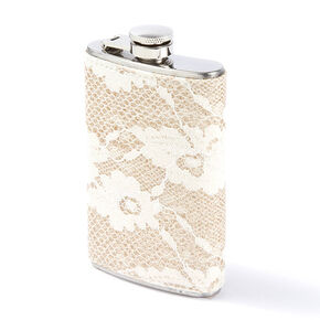 Gold Glitter and Ivory Floral Lace Flask		,