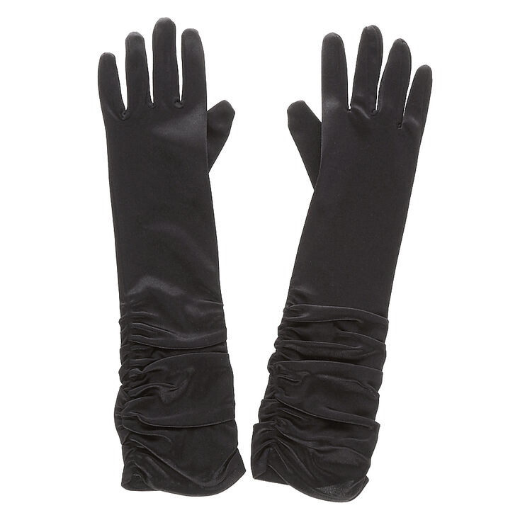Black Satin Ruched Gloves at Icing in Victor, NY | Tuggl