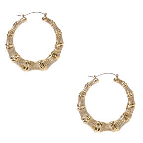 60MM Glittery Gold-tone Bamboo Hoop Earrings,