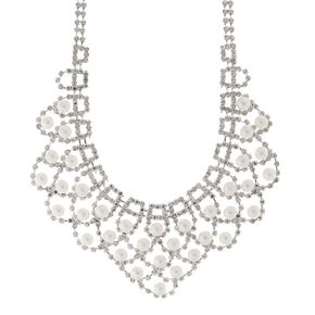 Elena Scalloped Rhinestone Chains and Pearls Statement Necklace,