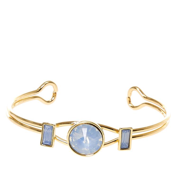 Blue Square Gem Cuff Bracelet,