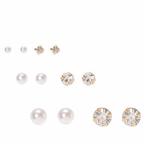 Faux Pearl and Crystal Graduated Stud Earrings,