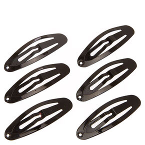 Oval Black Snap Hair Clips,