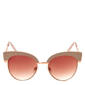 Rose Gold Gray Cat Eye Sunglasses,