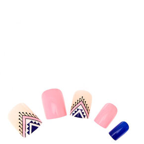 Blue and Navy Art Deco Instant Nails,