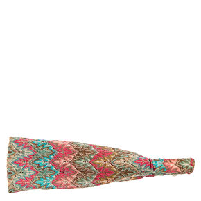 Mint And Pink Flame Print Headwrap,