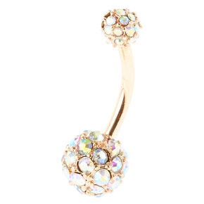 Rainbow Rose Gold Belly Button Ring,