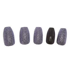 Black Glitter Faux Nails,