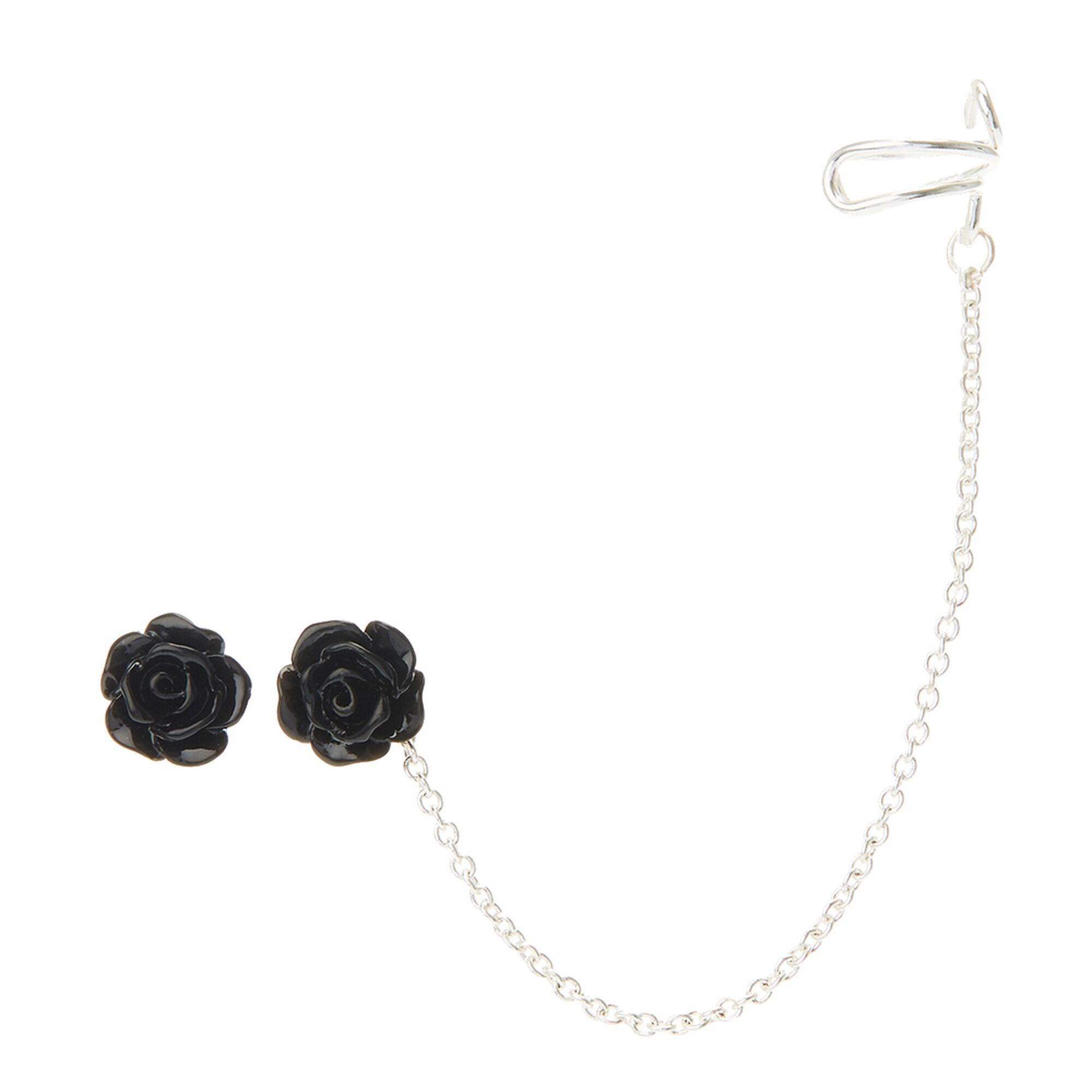 black stud earrings chain ear cuff s