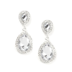 Crystal and Rhinestone Inverted Teardrop Drop Earrings,