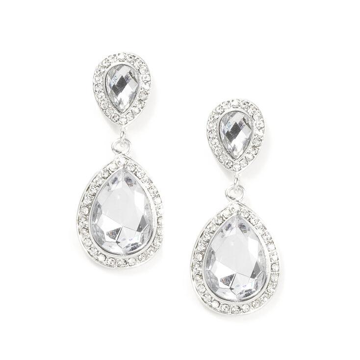 Crystal and Rhinestone Inverted Teardrop Drop Earrings,