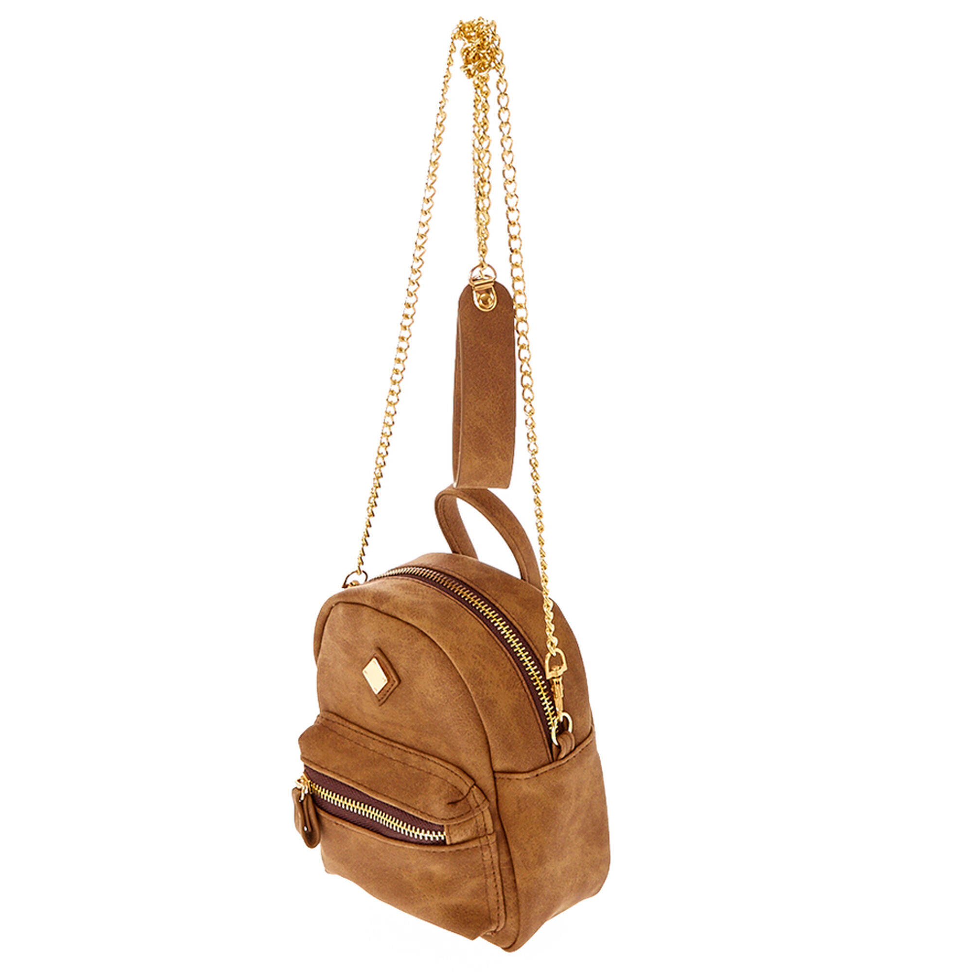 Mini Faux Leather Cognac Crossbody Backpack Claire S Us